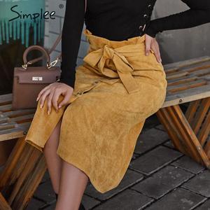 Image 3 - Simplee A line kadife etek kadın sonbahar kış vintage harajuku kadın midi etek zarif yüksek bel kuşak kemer bayanlar etek