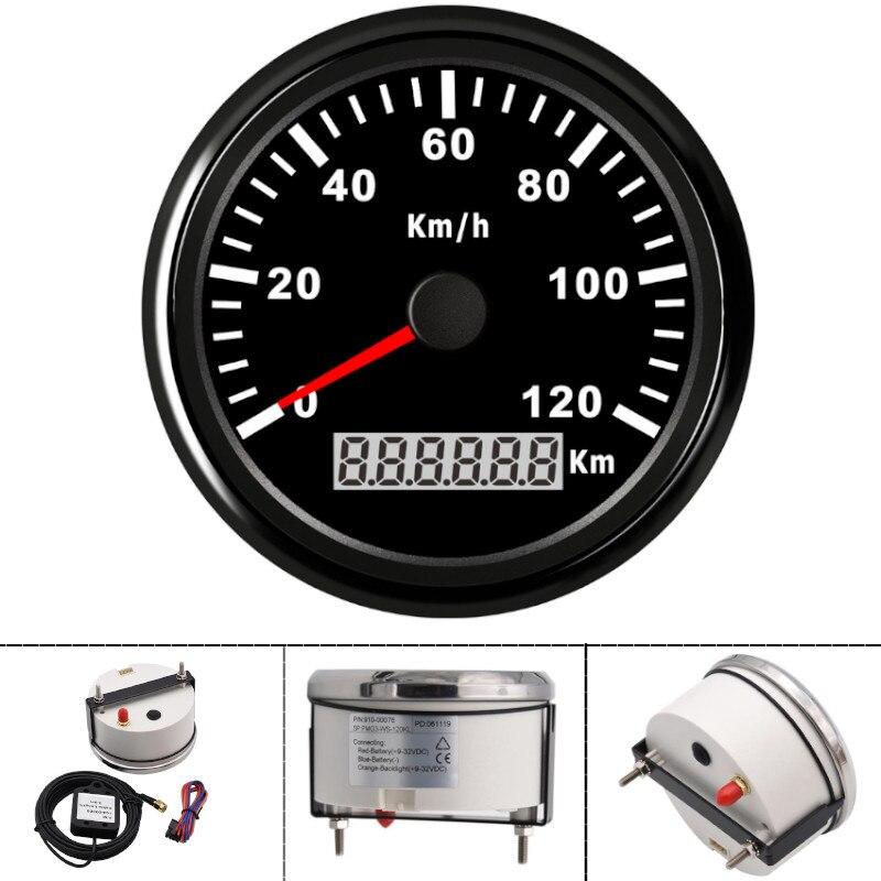 Étanche 85mm moto GPS compteur de vitesse 120KMH numérique GPS jauge mètre voiture vitesse jauges universel pour bateau voiture camion 12V 24V