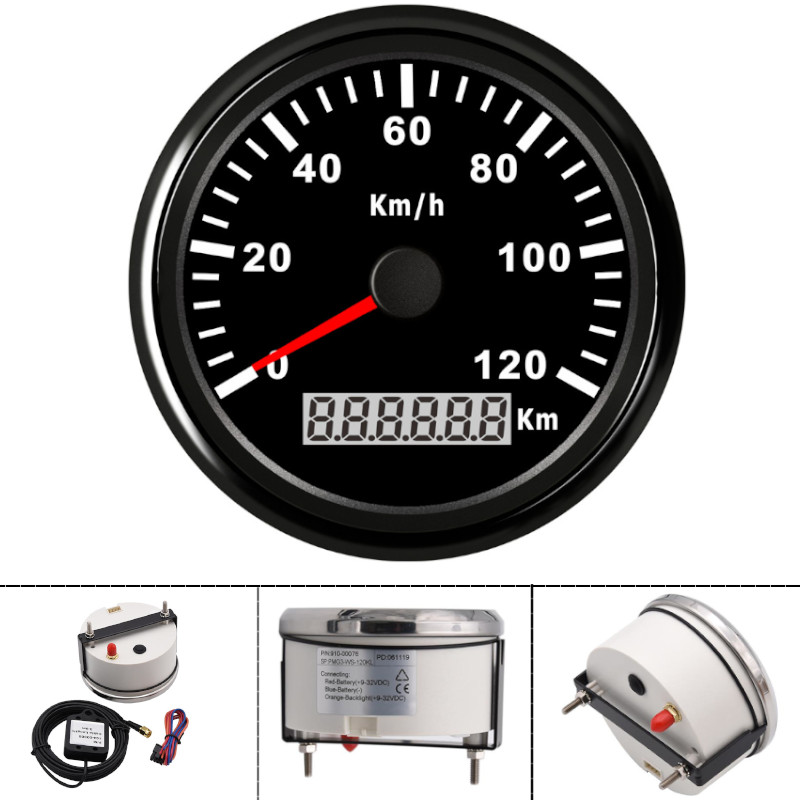 85mm 3-3//8/'/' Marine GPS Speedometer Gauge 200Km//h For Boat Car Truck Waterproof