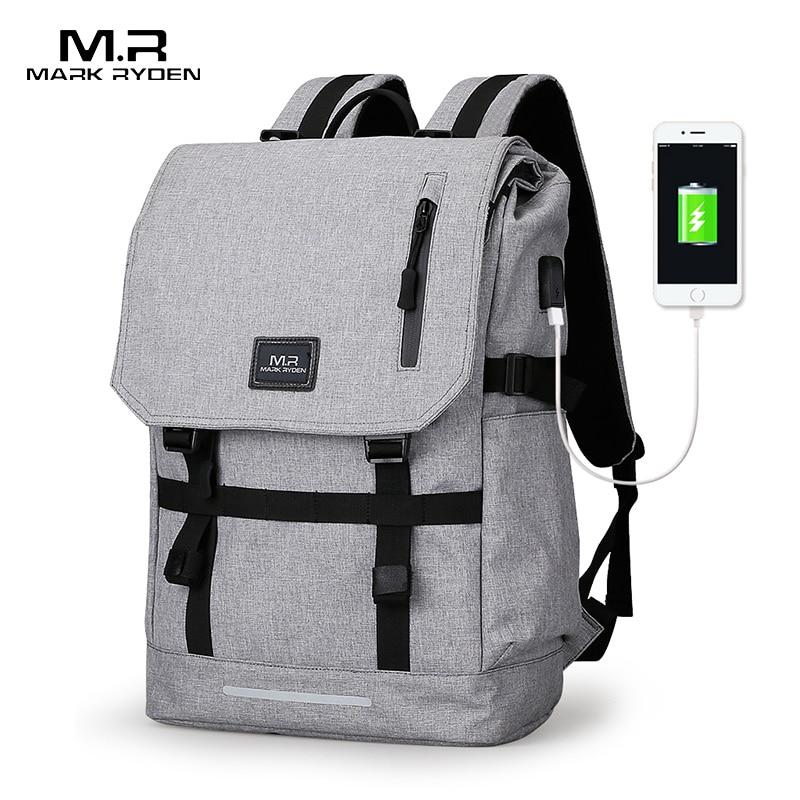 Black Backpack School-Bags Mark-Ryden Usb-Design Large-Capacity Women Mochila Masculina
