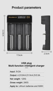 Image 5 - PHOMAX 18650 3 slots USB cable battery LED smart display fast charger 14500 26700 26500 IMR/Li ion rechargeable battery charger