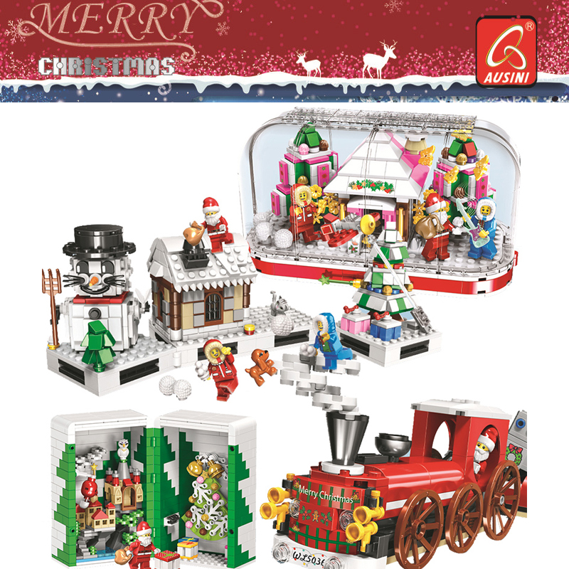 2019 Crystal Box Santa Village Christmas Train toys Model Building Kits Blocks Compatible Legoings Bricks Kids Christmas Gifts