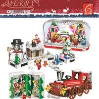 2019 Crystal Box Santa Village Christmas Train toys Model Building Kits Blocks Compatible Legoings Bricks Kids Christmas Gifts