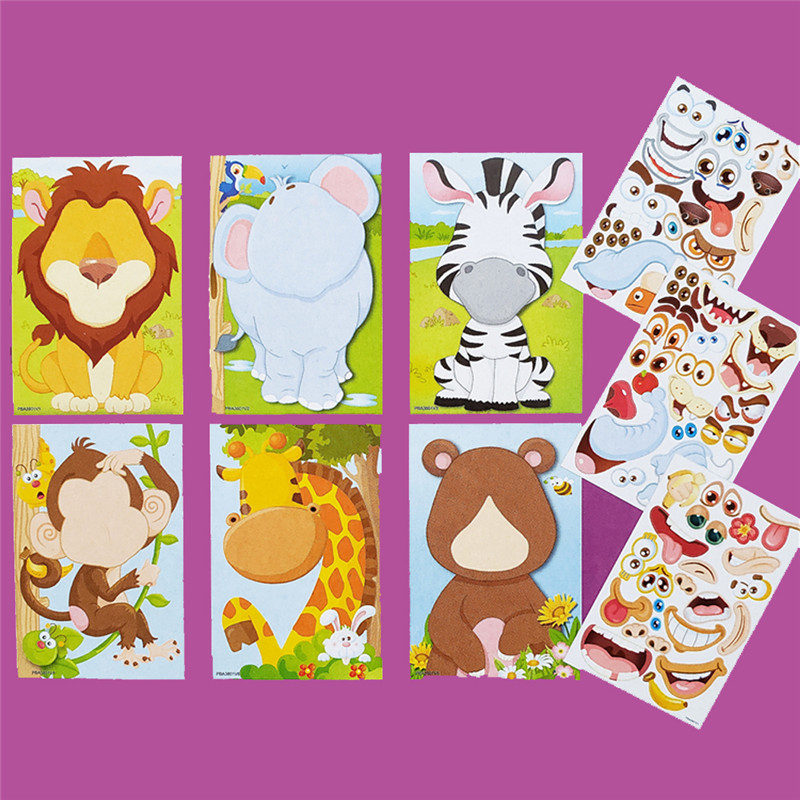9pcs/set Stickers DIY Cute Stickers Children Puzzle Games Make-a-Face Princess Animal Dinosaur Assemble Toys for Girls Training 3