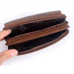 Image 5 - New Men Leather Cowhide Vintage Travel Cell Mobile Phone Case Cover Belt Pouch Purse Fanny Pack Waist Bag