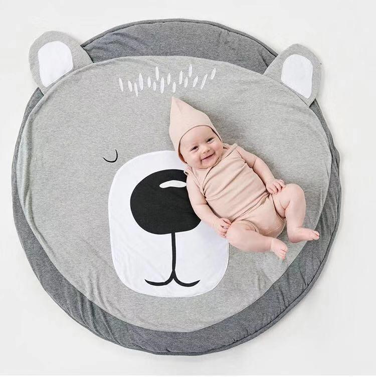 H8e630fa1487f499ca3d84e18f461505d1 Ins Cartoon Baby Play Mats Pad Toddler Kids Crawling Blanket Round Carpet Rug Toys Mat For Children Room Decor Photo Props