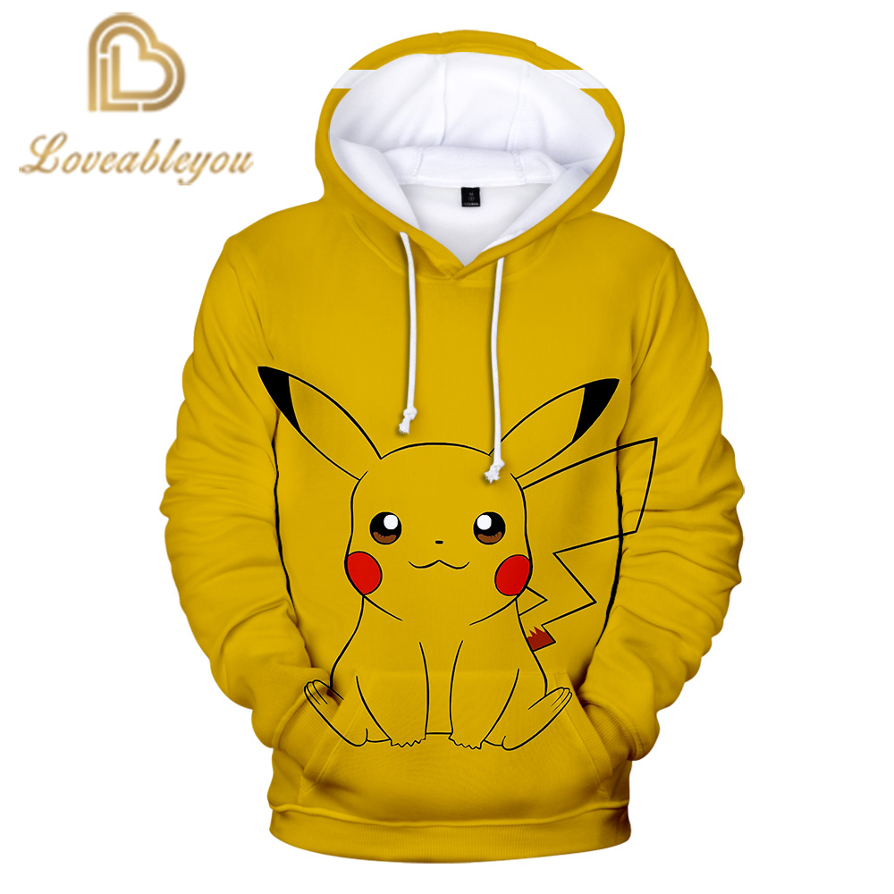 3D Cool Harajuku Style Pokemon Pikachu Hoodies Sweatshirt 2019 New High Quality Fashion Casual 2019 New Trend Casual Sweatshirt