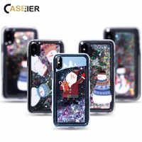 CASEIER Paillettes De Noël étui pour iPhone 7 8 Plus 6 6s 5 5S SE Plus Dur PC Sables Mouvants Funda Pour iPhone X XS MAX XR Cas Couque