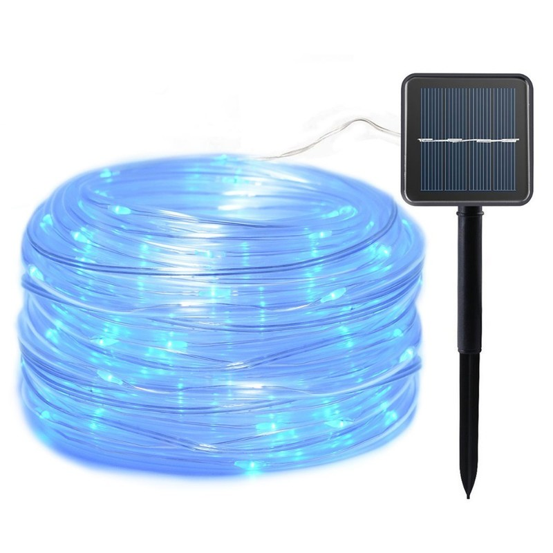12m 100Led Garland Solar String Lights Rope Tube Lighting for Home Garden Christmas Lamp Lawn Decoration Solar Power Lights
