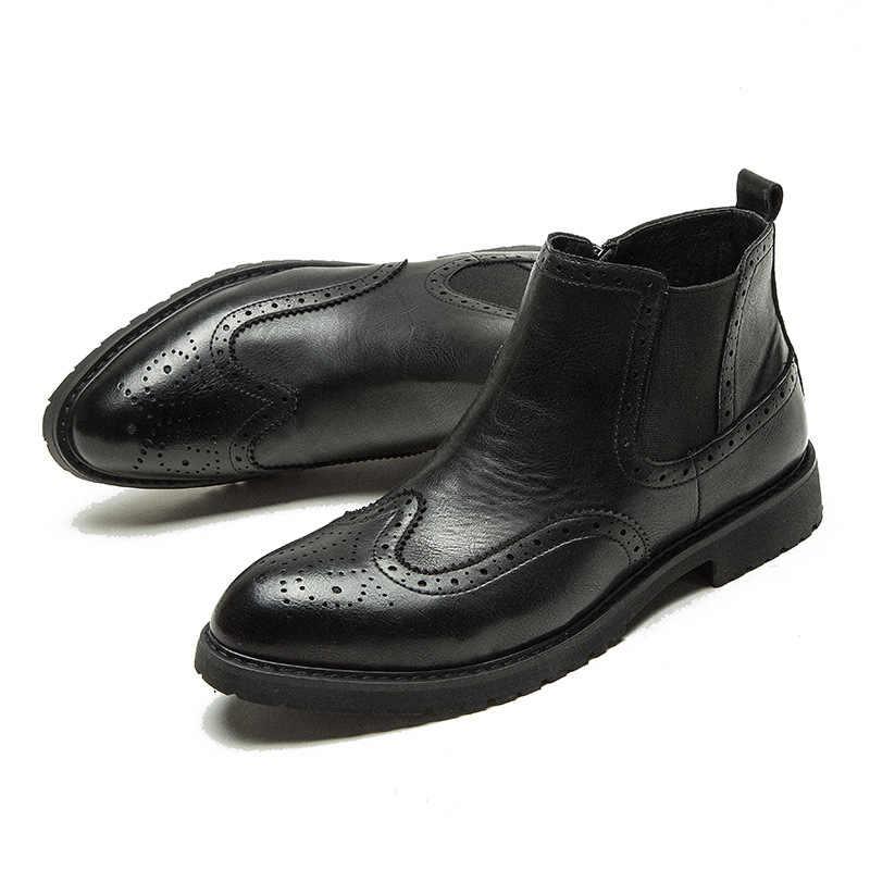 Herfst Winter Echt Leer Enkel Chelsea Laarzen Mannen Schoenen Met Vintage Klassieke Mannelijke Toevallige Motorfiets Boot heren laarzen
