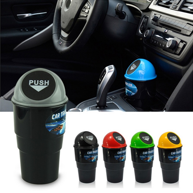 Car Mini Garbage Can Auto Creative Trash Can Vehicle Dust Holder Bin Box Spring Cover Universal Car Trash Can Accessories