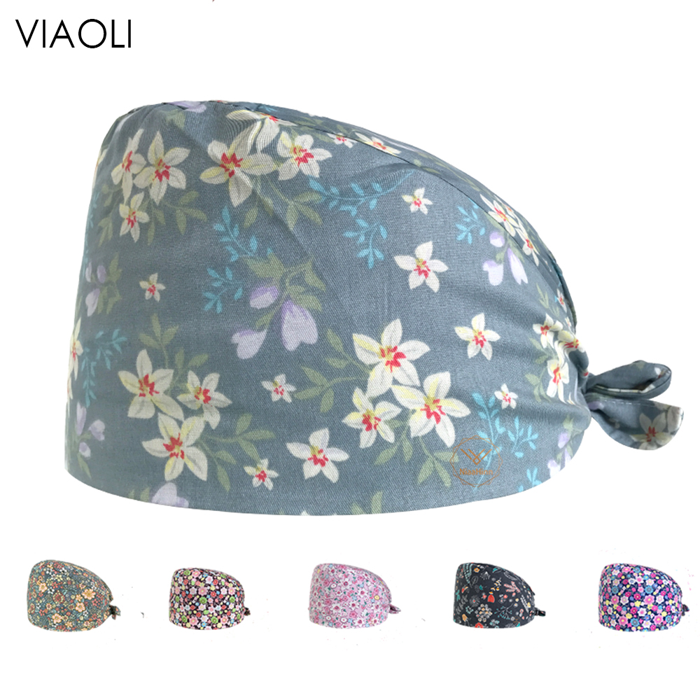 High Qualitybreathable  Surgery Scrubs Cap  Printing Women And Man Operating Room Hat Pharmacy Cap Oral Dental Cotton Doctor Hat