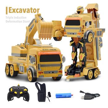 Remote Control Engineering Vehicle 1:12 One Key Excavator Watch Gravity Gesture Sensing Car with Light Music RC Car Toy for Kids
