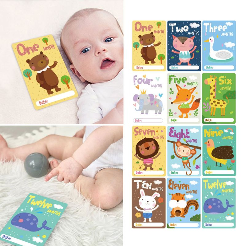 12 Sheet Milestone Photo Sharing Cards Gift Baby Age Cards Newborn Photo Props NEW