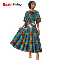 2019 African Dresses for Women Dashiki ankara Wax Cotton fabric Batik Sexy Dress for Femal Traditional clothing wy5122