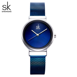 Image 5 - Shengke Blue Wrist Watch Women Watches Luxury Brand Steel Ladies Quartz Women Watches 2020 Relogio Feminino Montre Femme