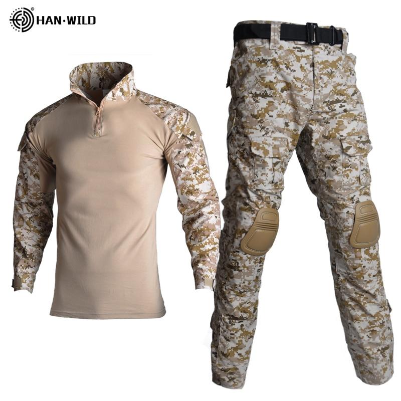 Taktik takım elbise askeri üniforma takım elbise kamuflaj avcılık gömlek pantolon Airsoft Paintball giyim setleri 4 pedleri ile artı 8XL