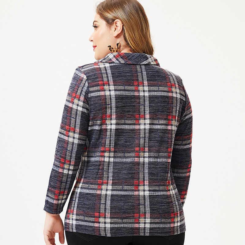 แฟชั่นลายสก๊อตแบบสบายๆ 2019 ฤดูใบไม้ร่วงใหม่พลัสขนาดผู้หญิงแขนยาวเสื้อยืดพิมพ์พ็อกเก็ต Slim Tops และเสื้อ