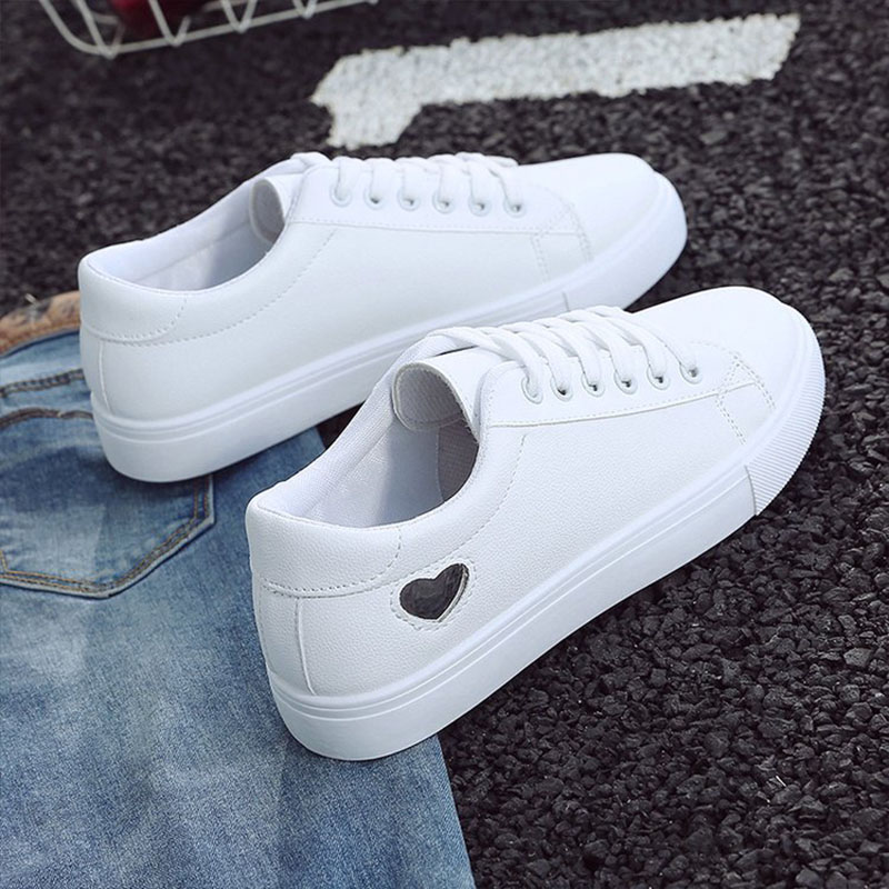 2019 Autumn Woman Shoes Fashion New Woman PU Leather Shoes Ladies Breathable Cute Heart Flats Casual Shoes White Sneakers 3