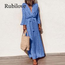 Rubilove Women Casual V-neck Floral Print Long Dress Summer Autumn Sleeve Maxi Boho Elegant Sashes Party S-5XL