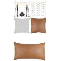 品質 6 個モダンなデザイン 100% フェイクレザーの品質装飾的なスロー枕カバーのみ、ソファー用ソファ、やベッドの 2 個 12 株式会社 -