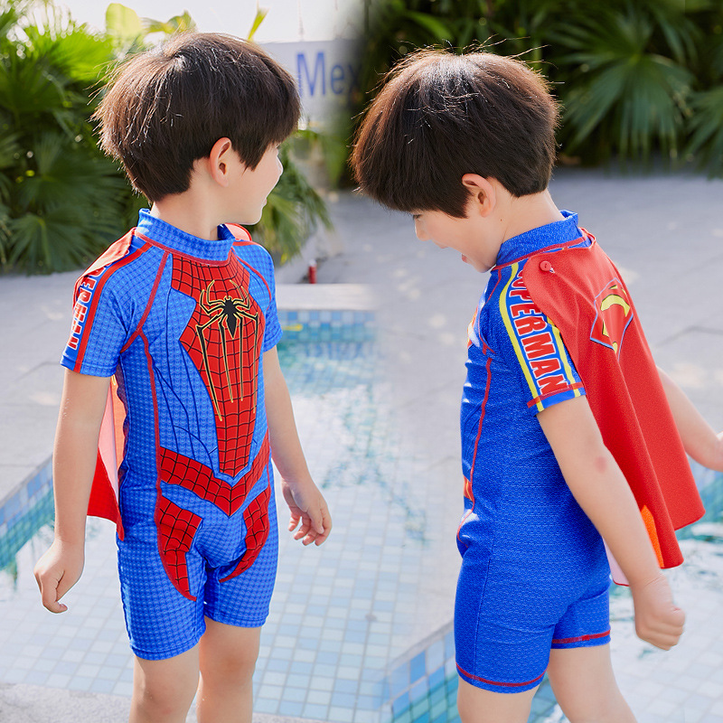 BOY'S Swimsuit One-piece Boxer Bathing Suit Spider-Man Superman Boy Hero Dream With Mantle CHILDREN'S Swimsuit Small CHILDREN'S