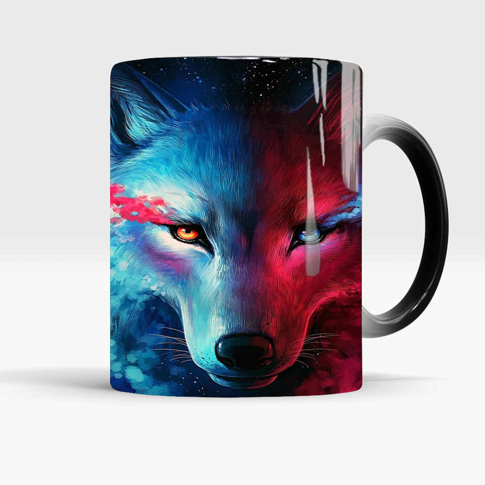 Magiczny wilk kubek księżyc wilk król kubki kawy kubek 350ml kolor zmieniony kubek wrażliwy na ciepło kubek do herbaty kubek na prezent kubek Drop Shipping