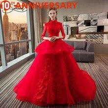Vestido de boda rojo de lujo con estampado Floral de la catedral de olymurs, vestido de novia de manga corta con volantes, hecho a medida