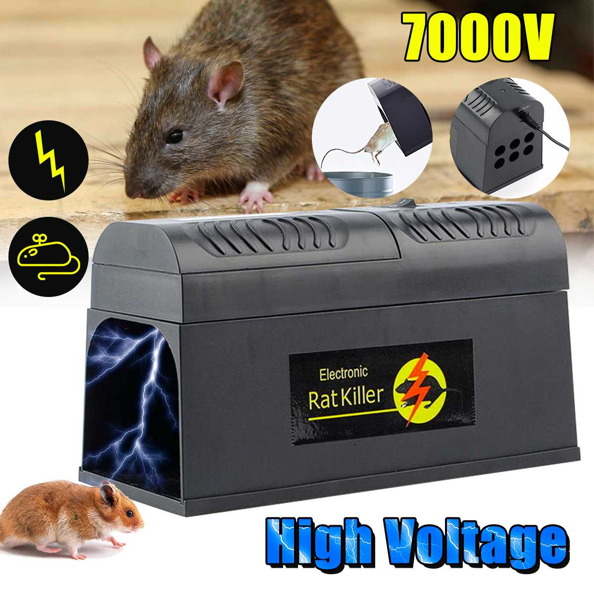 EU/US/UK Plug Electric Mouse Rat Trap Mouse Killer Electronic Rodent Mouse Zapper Trap Humane Rodent Mousetrap Device
