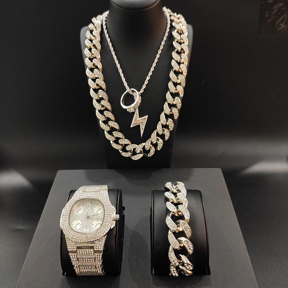 Montres de luxe pour hommes montre Hip Hop cubaine glacée et collier et pendentif & Bracelet & bague ensemble de pendentif ensemble de bijoux pour hommes