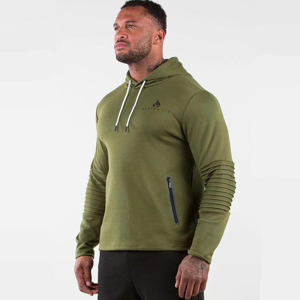 Image 2 - Army Green Casual Hoodies Men Cotton Sweatshirt Gyms Fitness Workout Pullover Spring Male Hooded Sportswear Tops Brand ClothingHoodies & Sweatshirts   -