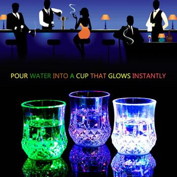Fantastic Colorful Luminous Cup Lighting Up Water Tea Cups Liquid Induction Flash Cup Crystal Ultra-Thin Luminous Coaster