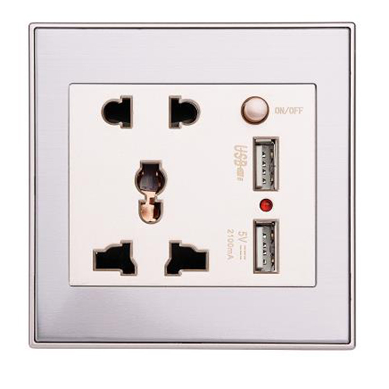 1pcs USB Socket Quality 10A Dual USB Wall Socket Panel AC 110 265V Outlet Power Charger Switch New Arrival in Electrical Sockets from Home Improvement