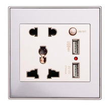купить 1pcs USB Socket Quality 10A Dual USB Wall Socket Panel AC 110-265V Outlet Power Charger Switch New Arrival дешево