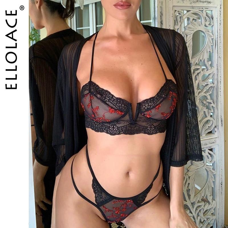 Ellolace Sexy Fashion Lace Underwear Set Women Embroidery Transaprent Bra Brief Sets 2019 Mesh Underwear Two 2 Pcs Lingerie Sets