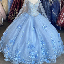 Quinceanera-Dresses Dreamy Light-Blue Sweet Flowers 16-Gown Sequins Fairy Vestidos-De-15-Aos
