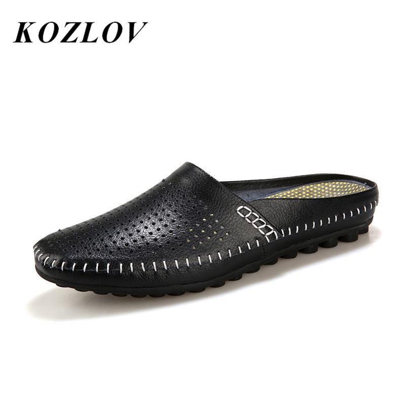 Kozlov respirável oco sapatos casuais homens mocassins couro genuíno italiano verão metade sapatos homens deslizamento em água marca de luxo