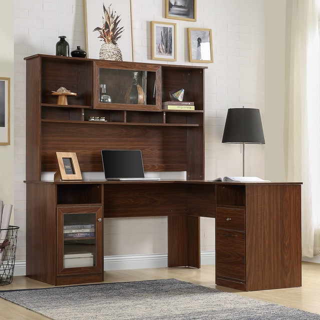 Home Office L-Shaped Desk With Hutch And Glass Doors 2
