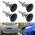 4 шт. универсальная алюминиевая черная кнопка заготовка быстросъемная зажим для переднего бампера автомобиля булавка для капота двигателя ...