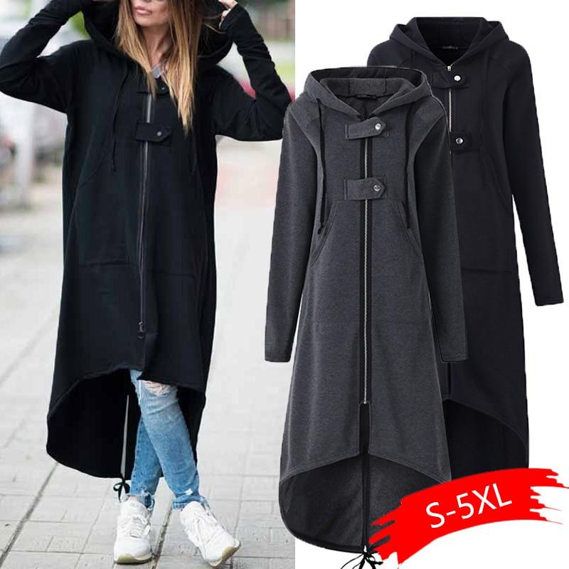 Fashion Long Sleeve Hooded Trench Coat 2020 Autumn Black Zipper Plus Size 5XL Velvet Long Coat Women Overcoat Clothes