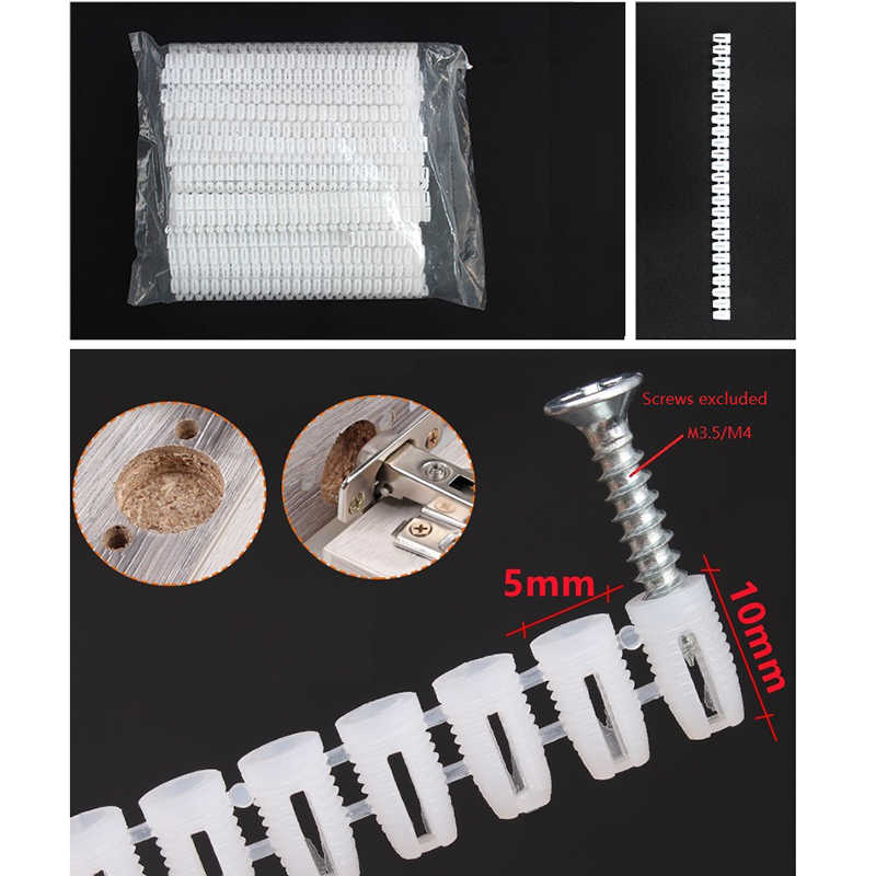 Length : 12mm 25pc, Specification : M4 25pc//lot M4 Self-tapping screws expansion bolt nylon plug column plastic screw anchor for Door hinge hole decoration Fasteners