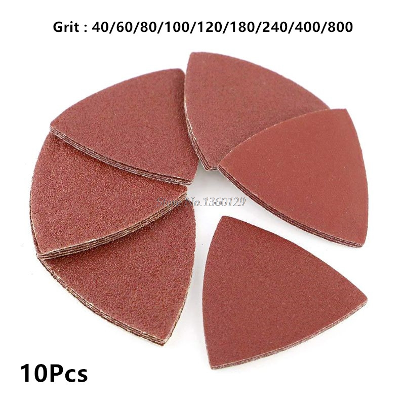 10Pcs Red Grit Sanding Sheet Discs Triangle Grinder Sandpaper Pad 80mm Oscillating Abrasive Polishing Tool 40# To 800# Whosale