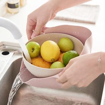 Wielofunkcyjny durszlak kuchenny/sitko i zestaw misek, dwuwarstwowy obrotowy pojemnik na odpady i kosz, do czyszczenia, prania