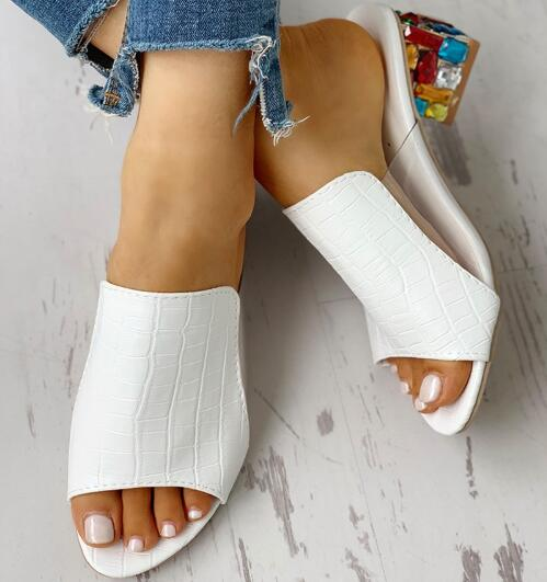 NAUSK Woman Sandals Shoes Slippers 2020 Summer Style Wedges Pumps High Heels Slip On Bling Fashion Gladiator Shoes Women Pumps