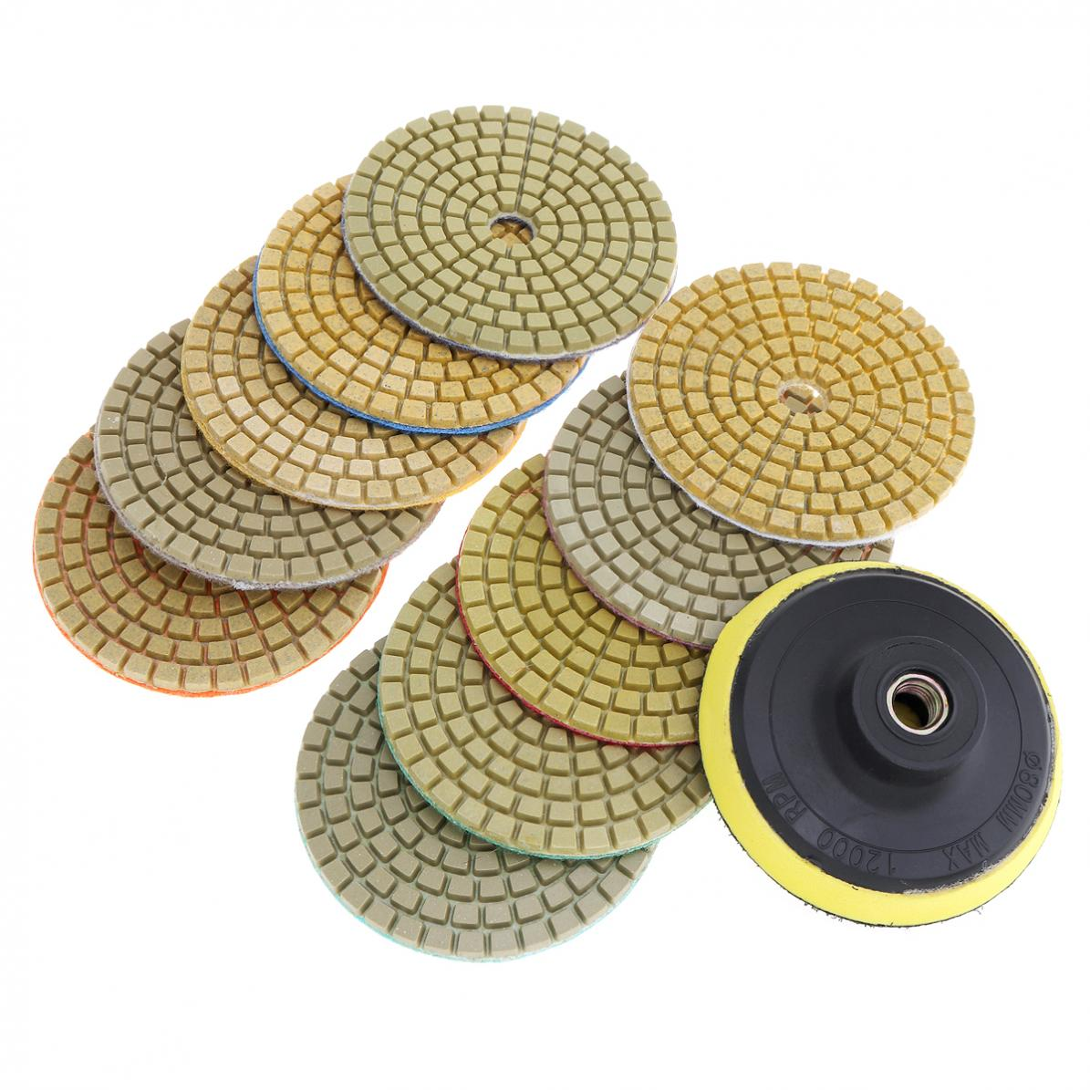 10pcs/set 3 Inch Flexible Wet Stone Polishing Disc Wheel Polishing Tool With Sticky Pad Plate For Diamond Marble Granite