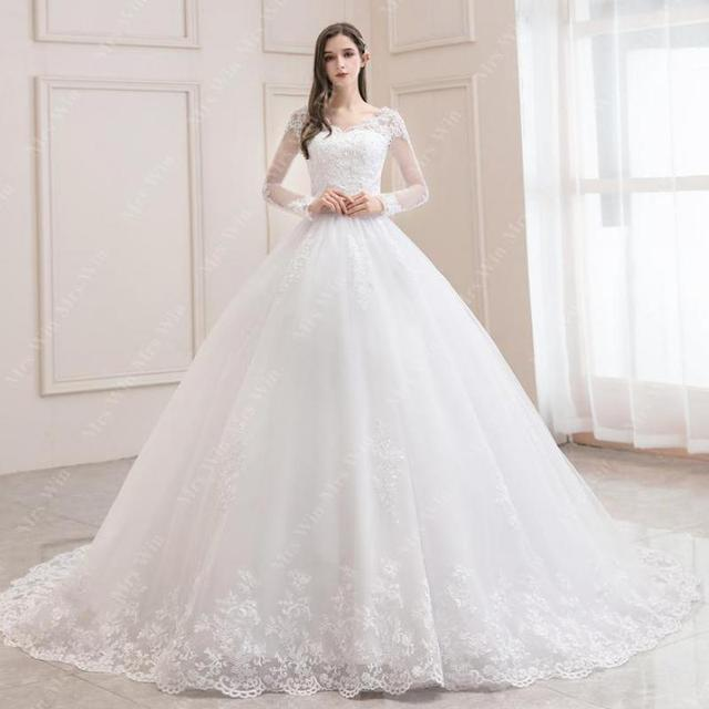 Wedding Dress 2021 New Luxury Full Sleeve Sexy V-neck Bride Dress With Train Ball Gown Princess Classic Wedding Gowns 2