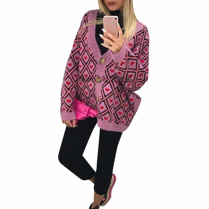 Women Sweater Knit Cardigan Winter New Long Sleeve V-neck Clothes Kardigan Hot Sale 2019