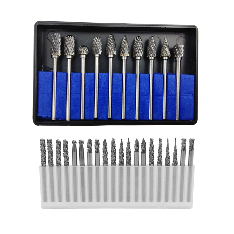 10Pc 1/8 Inch Shank Tungsten Carbide Milling Cutter Rotary Drills & 20Pc Full Double Grain Tungsten Carbide Rotary Burr