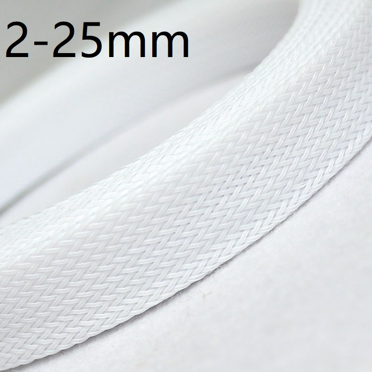 White PET Braided Wire Sleeve 3 4 <font><b>6</b></font> 8 <font><b>10</b></font> <font><b>12</b></font> 14 16 20 25mm Tight High Density Insulated Cable Protection Expandable Single Color image