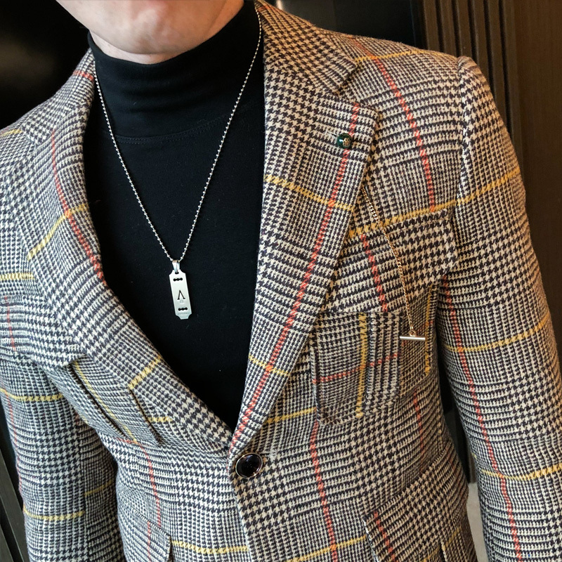 2020 Autumn Plaid Men Blazers Casual Slim Fit Suit Jacket Woolen Wedding Dress Coat Business Streetwear Social Costume Homme 4